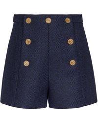 RED Valentino Herringbone Virgin Wool Shorts - Blue