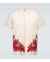Bode Camisa de algodón con apliques - Rojo