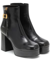 See By Chloé Leather Platform Ankle Boots - Black