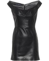 Zeynep Arcay Robe Princess à encolure bardot en cuir - Noir