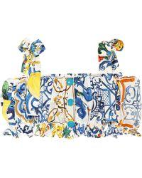 Dolce & Gabbana Majolica-print Cotton Top - Blue