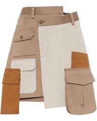 Monse Patchwork Twill Mini Skirt - Brown