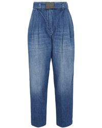 Brunello Cucinelli Jeans rectos de tiro alto - Azul