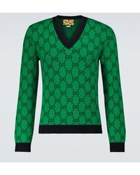 Gucci Pull GG Multicolor à col en V - Vert