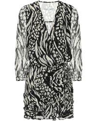 Veronica Beard Kiran Animal-print Silk Minidress - Black