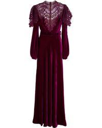 Costarellos Ashley Silk Velvet Gown - Red