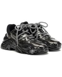 N°21 Billy Metallic Leather Trainers - Black
