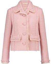 Tory Burch Wool-blend Tweed Jacket - Pink