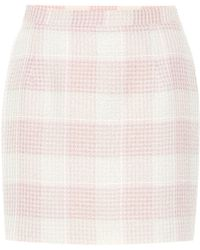 Alessandra Rich Checked Tweed Miniskirt - Pink
