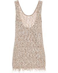 Alanui Esclusiva Mytheresa - Top in maglia di cotone - Marrone