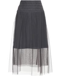 a779d17dba Lyst - Brunello Cucinelli Pleated Midi Skirt Beige in Natural