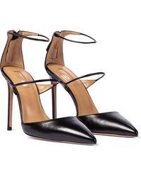 Aquazzura Minute 105 Leather Court Shoes - Black