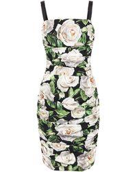 Dolce & Gabbana Floral Stretch Silk Dress - Green