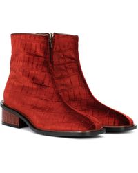 Dries Van Noten Ankle Boots aus Samt - Rot