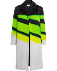 Dries Van Noten Abrigo de algodón de rayas - Amarillo