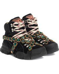 Gucci Flashtrek Velvet Sneakers - Black