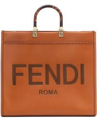 Fendi Sunshine Large Leather Shopper - Brown