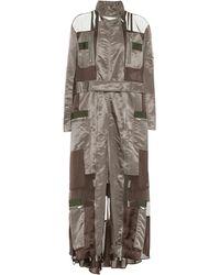 Sacai Turtleneck Satin Maxi Dress - Green