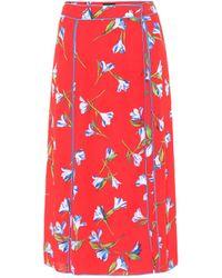 Rag & Bone Falda midi Hugo de crepé floral - Rojo