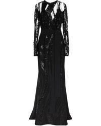 Elie Saab Robe longue pailletée - Noir