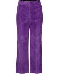 Victoria Beckham Pantaloni in velluto a coste - Viola