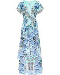 Camilla Printed Silk Asymmetric Wrap Dress - Blue