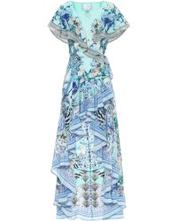 Camilla Bedrucktes Wickelkleid aus Seide - Blau