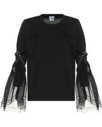 Noir Kei Ninomiya Organza-trimmed Cotton Blouse - Black