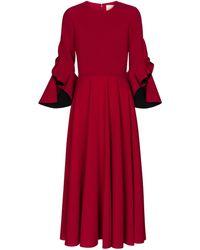 ROKSANDA Vestido midi Caden de crepé - Rojo