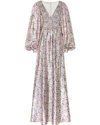 Stella McCartney Robe longue à fleurs - Violet