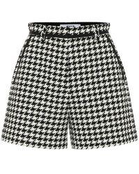 MSGM Shorts In Misto Cotone Pied De Poule - Nero