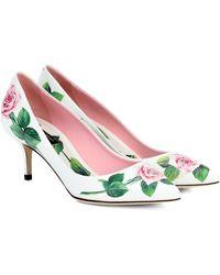 Dolce & Gabbana Floral Leather Pumps - Pink