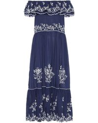 Juliet Dunn Exclusive To Mytheresa – Embroidered Cotton Midi Dress - Blue