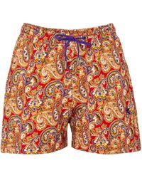 Etro Short en coton à motif cachemire - Multicolore