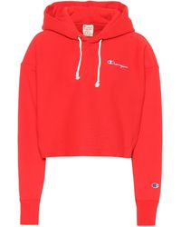 Champion Cropped Cotton Hoodie - Red