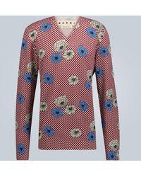 Marni V-neck Floral Printed Jumper - Multicolour