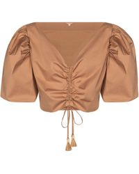 Johanna Ortiz Cropped-Top Real Expedition - Braun
