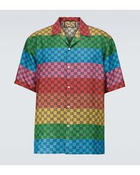 Gucci Camisa GG Multicolor de sarga de seda - Verde