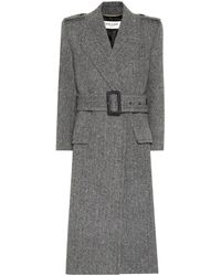 Saint Laurent Wool-herringbone Coat - Gray