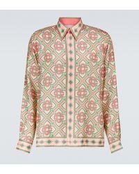 CASABLANCA Bedrucktes Hemd aus Seiden-Twill - Mehrfarbig