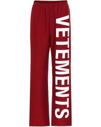 Vetements Printed Cotton-blend Trackpants - Red