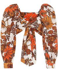 Dodo Bar Or Crop top de algodón floral - Naranja