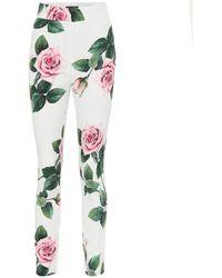 Dolce & Gabbana Floral leggings - White
