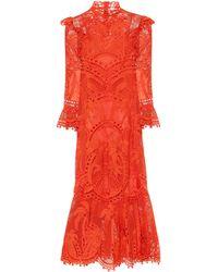 Zimmermann Robe Brightside Palm aus Spitze - Rot