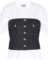 Junya Watanabe T-shirt en jean et coton - Blanc