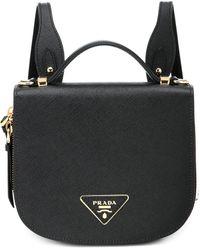 Prada Odette Saffiano Leather Backpack - Black