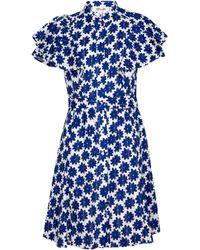 Diane von Furstenberg Robe Alice jacquard de coton à fleurs - Bleu