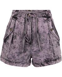 Ulla Johnson Shorts Alec de jeans de tiro alto - Morado