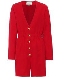 Gucci Playsuit aus Wolle und Seide - Rot