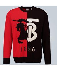 Burberry Contrast Logo Cashmere Sweater - Black